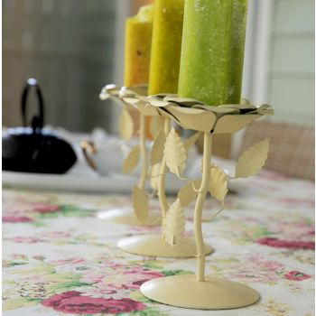 Candle Stand Flower Shape Cream