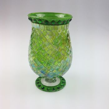 Mosaic Candle Holder Green