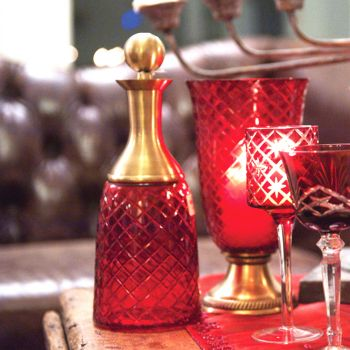 Decanter Ruby with Brass