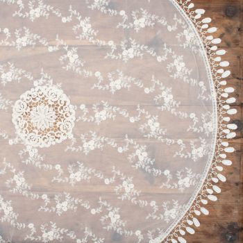 80cm Vintage Ivory Lace  Round Topper