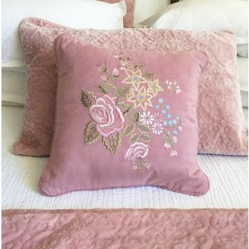 Embroidered Suede Cushion Prefilled