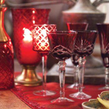 Diamond Cut Wine Glasses Set of 6