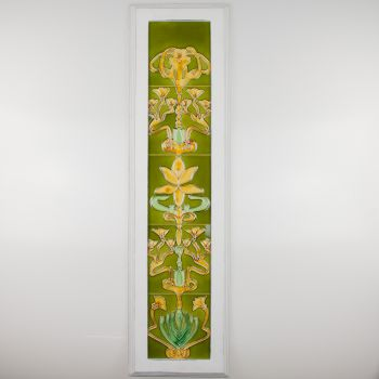 Vertical French Floral Tile Mural 84x23x2.2cm