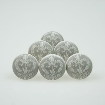Set of 6 Delicate Heart Print 38mm