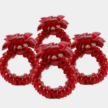 Set of 4 Crystal Beads Napkin Rings