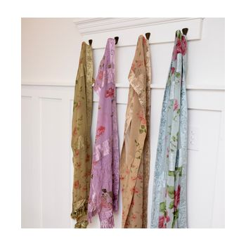 Long Chiffon Floral Scarf with Tasseling