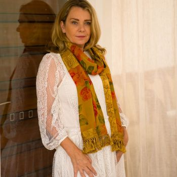 Chiffon Floral Scarf with Tasseling