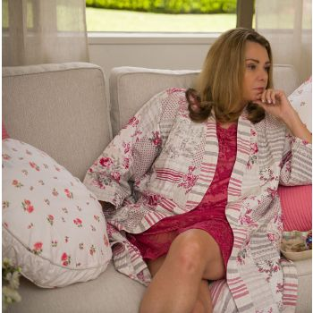 Cotton Dressing Gown Softly Quilted Floral Red